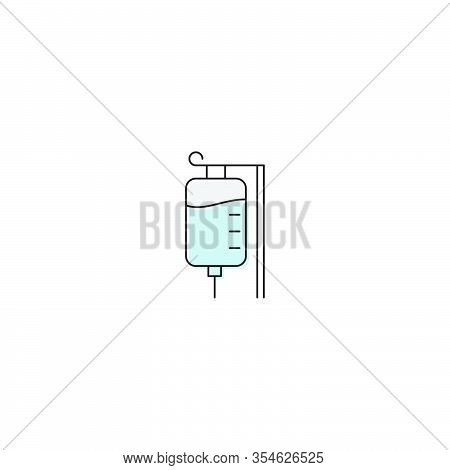 Infusion Drip Vector Icon Symbol Medical Isolated On White Background