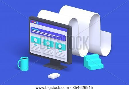 3d Render Modern Computer Monitor With Tape Icon For Online Working. Isometric Concept Technology Fo