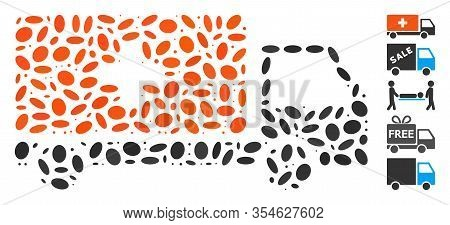 Dotted Mosaic Based On Medical Shipment. Mosaic Vector Medical Shipment Is Composed With Random Elli