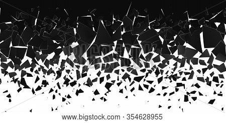 Abstract Cloud Of Pieces And Fragments After Explosion. Shatter And Destruction Effect. Demolition S