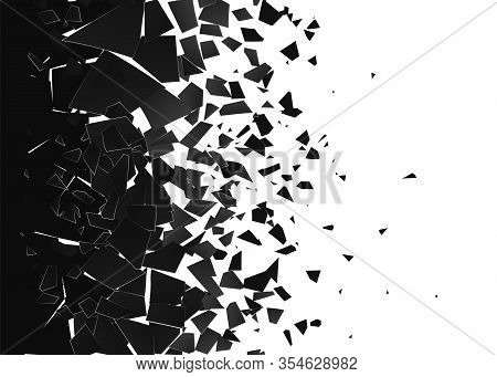 Abstract Cloud Of Pieces And Fragments After Explosion. Demolition Surface. Shatter And Destruction