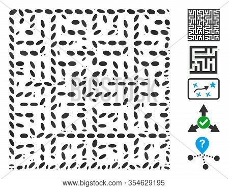 Dotted Mosaic Based On Labyrinth. Mosaic Vector Labyrinth Is Composed With Random Elliptic Items. Bo