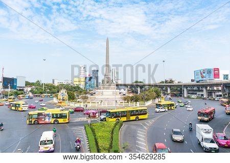 Victory Monument Bangkok, Thailand - December 28,2019 : Victory Monument In Bangkok Located Is Circl
