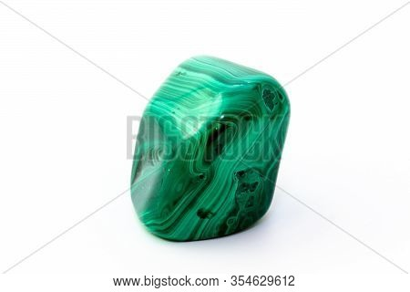 A Sample Of The Mineral Malachite On A White Background