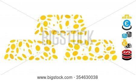 Dot Mosaic Based On Gold Bullions. Mosaic Vector Gold Bullions Is Formed With Random Ellipse Element