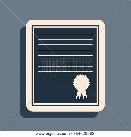 Black Certificate Template Icon Isolated On Grey Background. Achievement, Award, Degree, Grant, Dipl