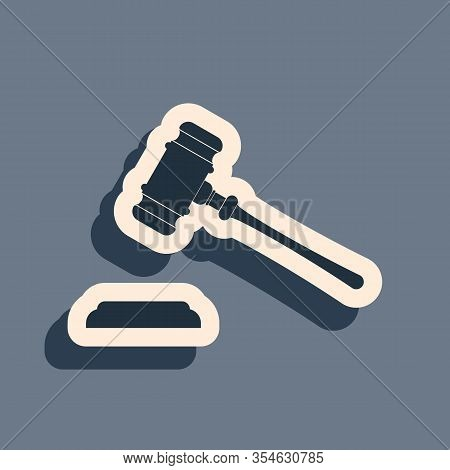 Black Judge Gavel Icon Isolated On Grey Background. Gavel For Adjudication Of Sentences And Bills, C