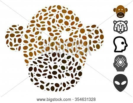 Dotted Mosaic Based On Monkey Face. Mosaic Vector Monkey Face Is Designed With Scattered Elliptic Do