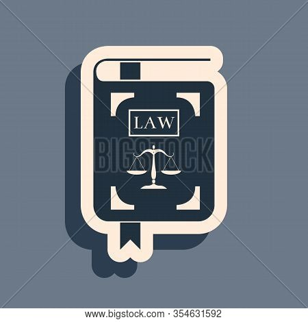 Black Law Book Statute Book With Scales Of Justice Icon Isolated On Grey Background. Long Shadow Sty