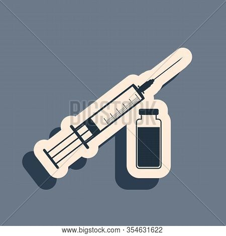 Black Medical Syringe With Needle And Vial Or Ampoule Icon Isolated On Grey Background. Vaccination,