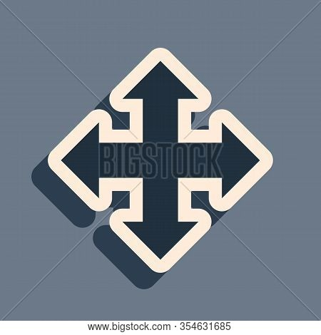 Black Arrows In Four Directions Icon Isolated On Grey Background. Long Shadow Style. Vector Illustra