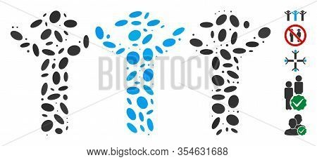 Dotted Mosaic Based On Gentlemen Hands Up Roundelay. Mosaic Vector Gentlemen Hands Up Roundelay Is F