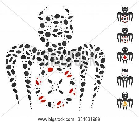 Dot Mosaic Based On Roulette Mad Spectre Devil. Mosaic Vector Roulette Mad Spectre Devil Is Designed