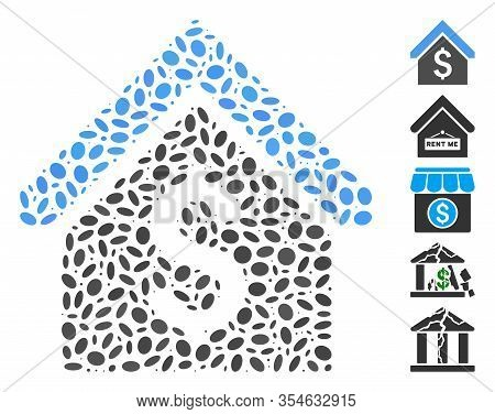 Dotted Mosaic Based On Loan Mortgage. Mosaic Vector Loan Mortgage Is Composed With Scattered Ellipse