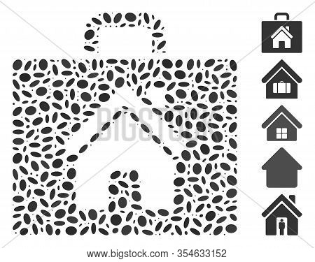 Dot Mosaic Based On Realty Case. Mosaic Vector Realty Case Is Composed With Scattered Elliptic Dots.