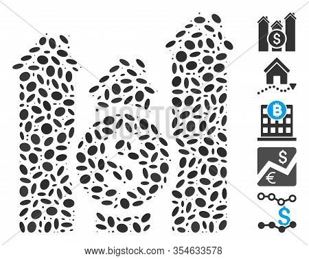 Dotted Mosaic Based On Realty Price Charts. Mosaic Vector Realty Price Charts Is Designed With Rando