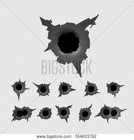 Set Of Bullet Holes. Different Damaged Element From Bullet On Metallic Surface. Vector Illustration