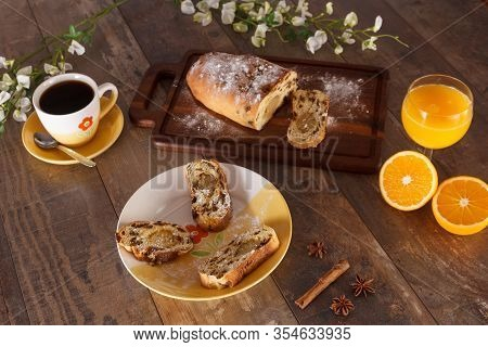 Easter Breakfast With Raisin Bread, Orange Juice And Coffee