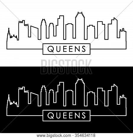 Queens Ny Skyline. Linear Style. Editable Vector File.