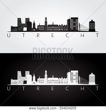 Utrecht Skyline And Landmarks Silhouette, Black And White Design, Vector Illustration.