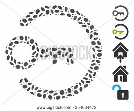 Dotted Mosaic Based On Login Key. Mosaic Vector Login Key Is Created With Random Oval Dots. Bonus Ic