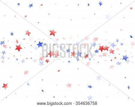 American Memorial Day Stars Background. Holiday Confetti In Usa Flag Colors For Patriot Day.  Stylis