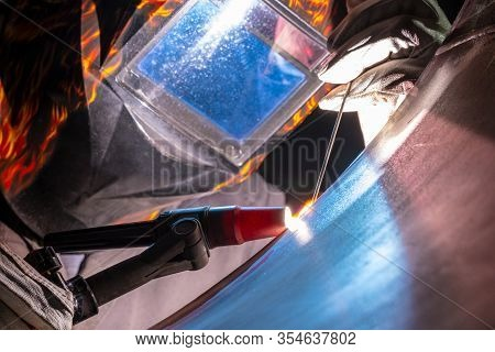 Welding Of Stainless Steel By Electric Arc Welding In Argon Shielding Gas. Tig Welding.