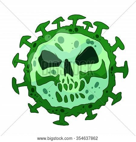 Colorful Vector Illustration Of A Green Virus Character