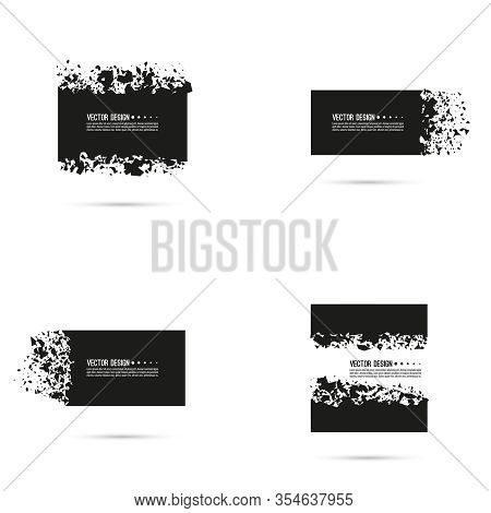 Set Of Explosive Black Banners. Vector Rectangle Breaking Into Small Debris With Sharp Particles.