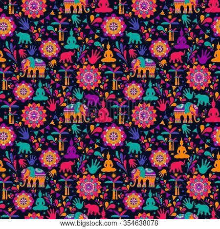 Happy Holi Vector Elements Seamless Pattern Design , Happy Holi Design With Colorful Icon.