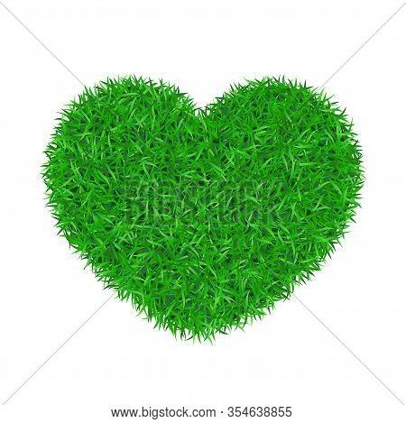 Heart Green Grass 3d. Green Grass Love Land Isolated White Background. Ecology Garden, Heart-shape.