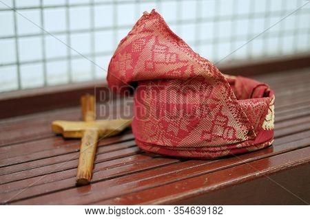 Closeup, Tengkolok With Keris, Groom Dress Accessories For Malay Wedding Tradition.