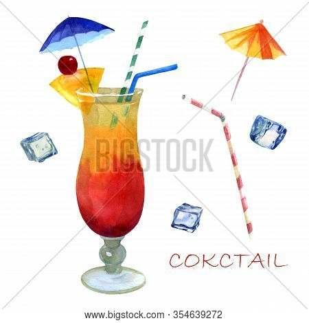 Watercolor Illustration. Image Of A Glass With A Cocktail Sex On The Beach. Ice Cubes For Cocktails,