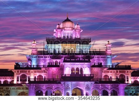 Jaipur, India - January 5, 2019: Exterior Of Albert Hall At Sunset In Jaipur, Rajasthan, India. It I