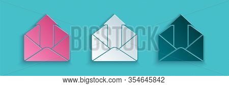 Paper Cut Outgoing Mail Icon Isolated On Blue Background. Envelope Symbol. Outgoing Message Sign. Ma