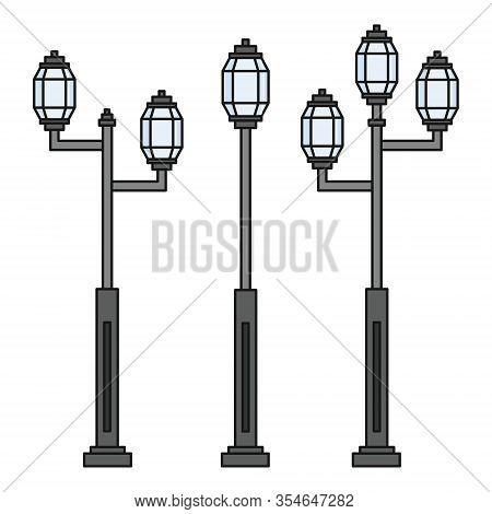 Streetlight Vintage Lamp Icons Isolated On White Background. Flat Colorful Design. Vector Illustrati