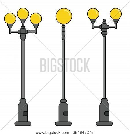 Streetlight Vintage Lamps With Turned On Light. Icons Isolated On White Background. Flat Colorful De