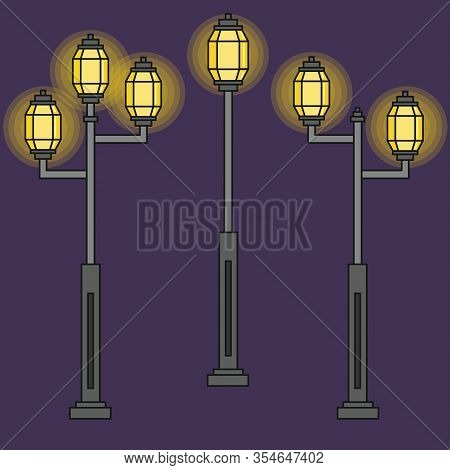 Three Streetlight Vintage Lamps Shine At Night. Icons Isolated On Blue Background. Flat Colorful Des
