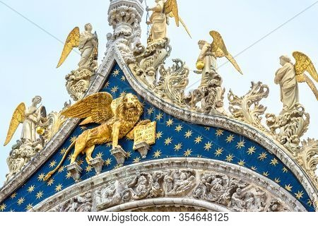 St Mark's Basilica, Detail Of Rooftop, Venice, Italy. Famous Saint Mark's Cathedral Is Top Tourist A