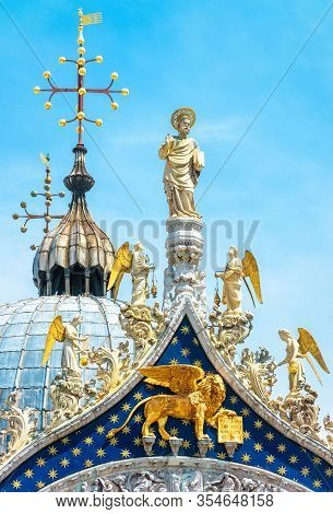 St Mark's Basilica, Detail Of Luxury Rooftop, Venice, Italy. Old Saint Mark's Cathedral Is Famous To