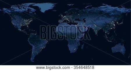 Earth At Night, View Of City Lights Showing Human Activity In North America, Europe And East Asia Fr