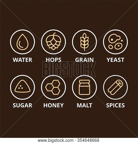 Beer Ingredient Icons. Basic Ingredients Like Hops, Grain And Yeast, And Optional Add-ins. Homebrewi