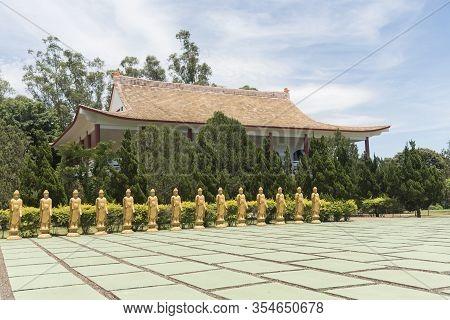 Foz Do Iguacu, Parana / Brazil; Dec 17, 2017: Chen Tien Buddhist Temple, Buddhas Square, Courtyard W