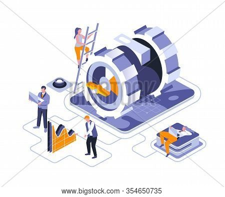 Business Mechanism Isometric Landing Page Vector Template. Workflow Management, Development Website