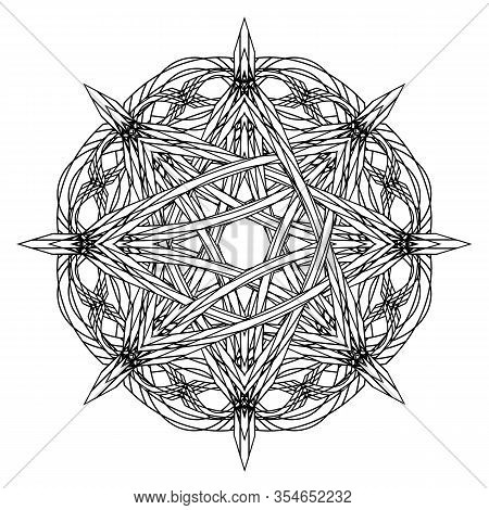 Black And White Entwined Gothic Octagonal Star In Ancient Style