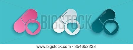Paper Cut Pills For Potency, Aphrodisiac Icon Isolated On Blue Background. Sex Pills For Men And Wom