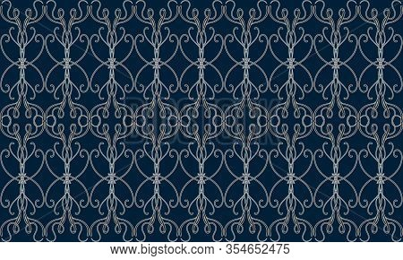 Elegant Seamless Pattern With Grey Filigree Victorian Tracery On Dark Blue Background