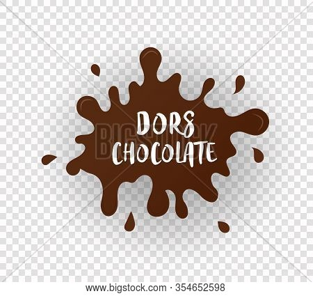 Chocolate Drops And Stains. Blots From Cocoa. Milk Chocolate Blot. Modern Poster Of Splash Cocoa On
