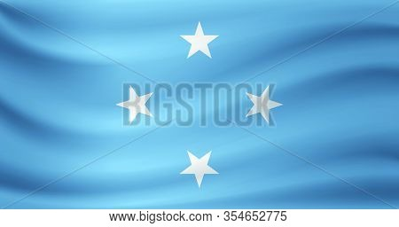 Waving Flag Of Federated States Micronesia. Vector Illustration