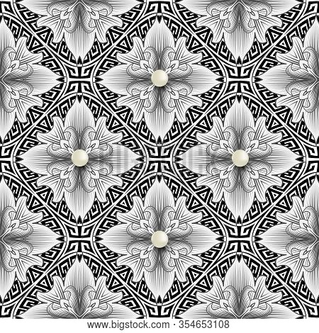 Floral Greek 3d Seamless Pattern. Vector Black And White Vintage Background. Repeat Flowers Backdrop